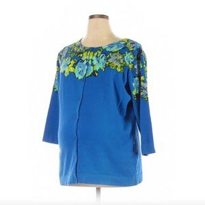 NEW Isaac Mizrahi Live 1X Blue Floral Sweater